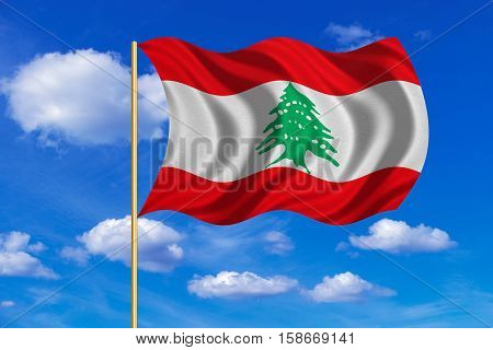 Lebanese national official flag. Patriotic symbol banner element background. Correct colors. Flag of Lebanon on flagpole waving in the wind blue sky background. Fabric texture. 3D rendered illustration