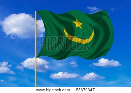 Mauritanian national official flag. African patriotic symbol banner element background. Correct colors. Flag of Mauritania on flagpole waving in the wind blue sky background. Fabric texture. 3D rendered illustration