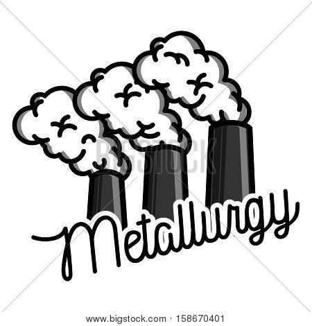 Metallurgical industry concept vector emblem. Melting iron. Metal casting process. Steel and alloys production and manufacturing. Vector illustration