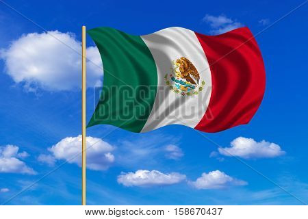 Mexican national official flag. Patriotic symbol banner element background. Correct colors. Flag of Mexico on flagpole waving in the wind blue sky background. Fabric texture. 3D rendered illustration