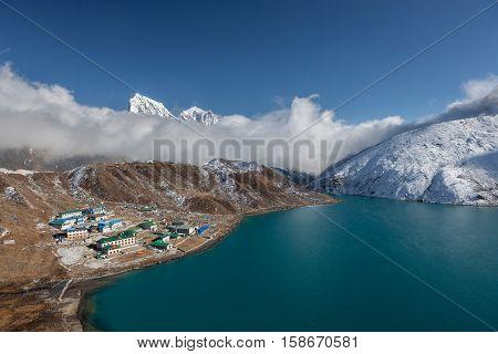 Himalaya Mountain Landscape. View Over Gokyo Village, Lake And A Snowy Hill In Sagarmatha National P