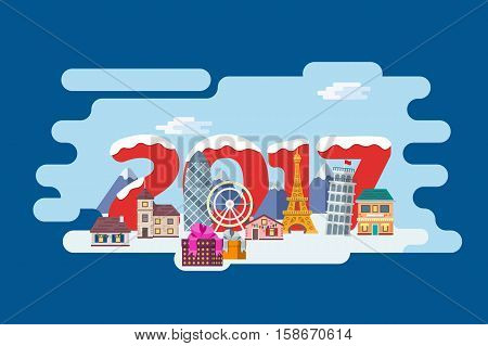 New Year and winter travel background in flat style. Christmas travel, Europe winter town, snow village in alps and winter city street. The winter vacation. Mountains, buildings and gifts in boxes.