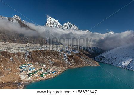 Himalaya Mountain Landscape. View Over Gokyo Village, Lake And Ngozumpa Glacier In Sagarmatha Nation