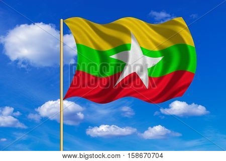 Myanmar national official flag. Patriotic symbol banner element background. Correct colors. Flag of Myanmar on flagpole waving in the wind blue sky background. Fabric texture. 3D rendered illustration