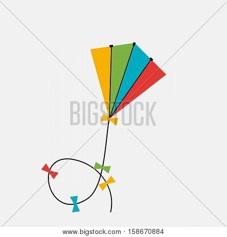 Colorful Kite Icono on Gray Background. Vector Illustration EPS10