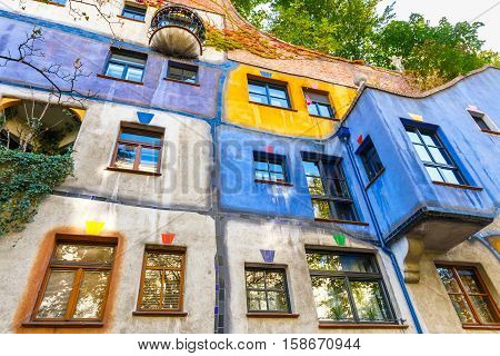 Vienna, Austria - October 14, 2016: Facade Of Huntdertwarsser House In Vienna. The Hundertwasser Hou