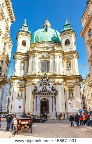 Vienna, Austria, October 15, 2016: Tourists On Graben Street, One Of The Most Famous Streets Of Vien