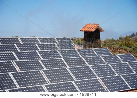 Solar Panels On Mountain Hut