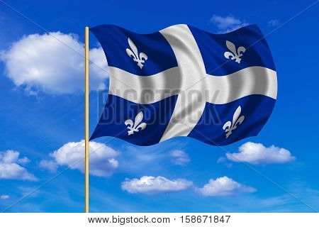 Canadian provincial flag QC patriotic official symbol. Canada Quebec banner. Correct color. Flag of the Canadian province of Quebec on flagpole waving in the wind blue sky background. Fabric texture. 3D rendered illustration