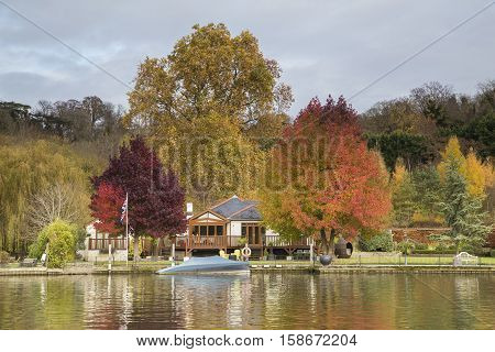 A beautiful collection of Autumn colors situated on the river Thames Henley-On Thames Oxfordshire England UK.