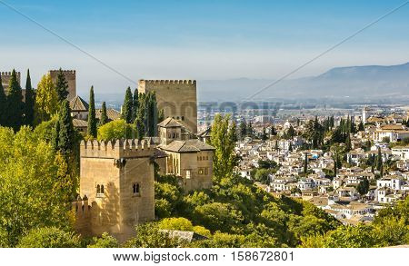 Beautifull view of Alhambra in Granada Spain