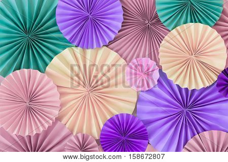 Pastel Romantic Background Wall With Versicoloured Paper Circles