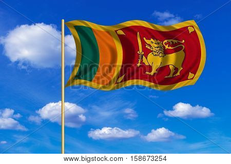 Sri Lankan national official flag. Patriotic symbol banner element background. Correct colors. Flag of Sri Lanka on flagpole waving in the wind blue sky background. Fabric texture. 3D rendered illustration