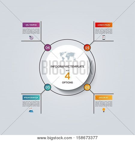 Linear infographic circle template with 4 options. Vector banner for business infographics. Can be used for cycle diagram, round chart, graph, presentation, report, step options, web design.