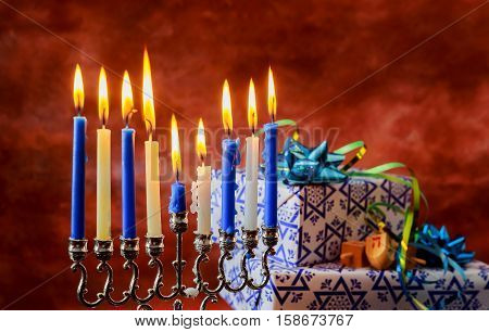 Jewish Holiday Hanukkah Holiday With Menorah Burning Candles.