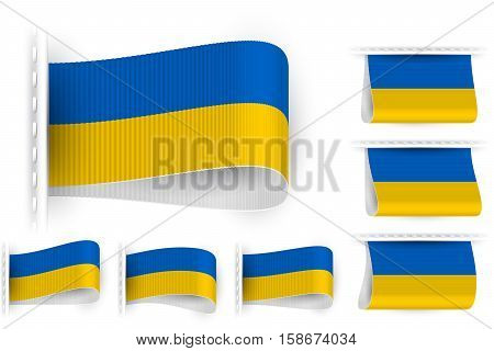 National state flag of Ukraine; Sewn clothing label tag; Vector icon set flags Eps10