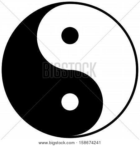 Sign of Oriental symbol Yin-Yang. Vector illustration.
