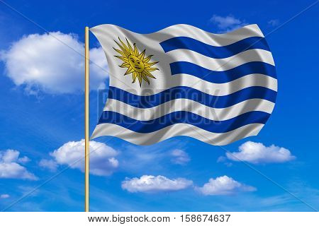 Uruguayan national official flag. Patriotic symbol banner element background. Correct colors. Flag of Uruguay on flagpole waving in the wind blue sky background. Fabric texture. 3D rendered illustration