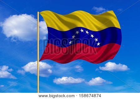 Venezuelan national official flag. Bolivarian Republic of Venezuela patriotic symbol banner. Correct size color. Flag of Venezuela on flagpole waving in the wind blue sky background. Fabric texture. 3D rendered illustration