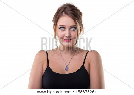 Guilty young blond woman on white background