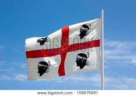 The flag of Sardinia - la bandiera sarda - the four moors - i quattro mori.