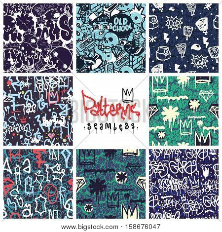 Big set of seamless patterns, graffiti style, king of style. Original youth seamless patterns, repeating image for using pattern on any items, T-shirts, wallpaper, curtains