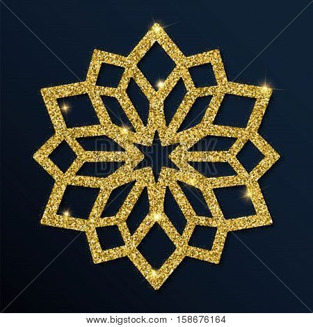 Golden Glitter Classy Snowflake. Luxurious Christmas Design Element, Vector Illustration.