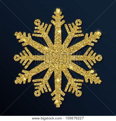 Golden Glitter Captivating Snowflake. Luxurious Christmas Design Element, Vector Illustration.