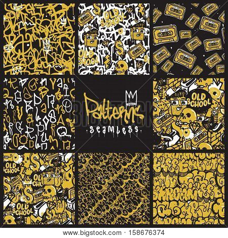 Big set of seamless patterns, graffiti style. Original youth seamless patterns, repeating image for using pattern on any items, T-shirts, wallpaper, curtains