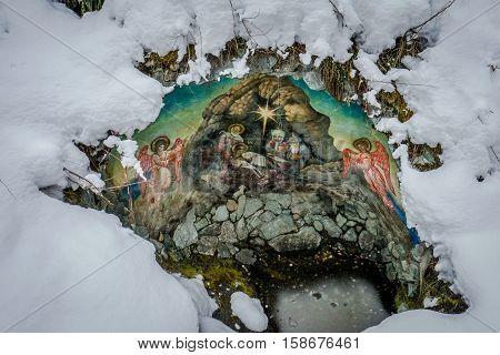 Patmos Island, Chemal village, Siberia, Russia. The important pilgrims place in Altai