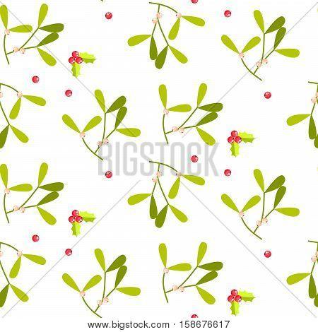 Mistletoe leaves seamless vector pattern. Christmas decor green plant on white background.