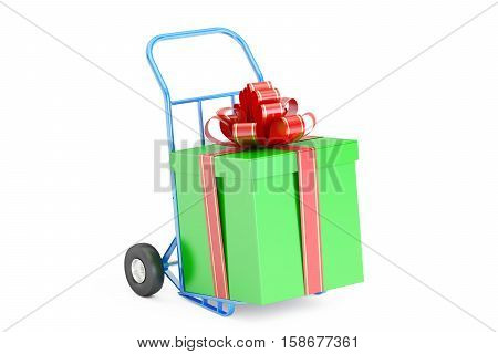 Gift Delivery Concept. Gift Box on Hand Truck 3D rendering isolated on white background