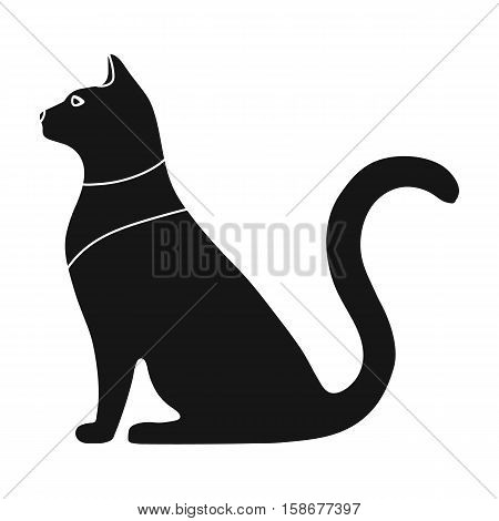 Cat goddess Bastet icon in black style isolated on white background. Ancient Egypt symbol vector illustration.