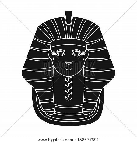 Pharaoh's golden mask icon in black style isolated on white background. Ancient Egypt symbol vector illustration.