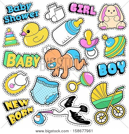New Born Baby Stickers, Patches, Badges Scrapbook Baby Shower Decoration Set with Stork and Toys. Vector Doodle Comic Style