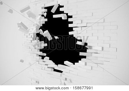 Destruction of a white wall with blank text. 3d illustration.