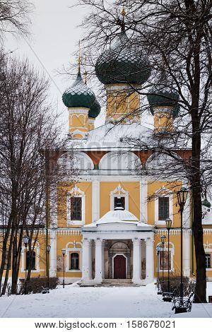 Transfiguration Cathedral in Uglich Kremlin Russia. Winter. Gold ring. Track to the old Russian cathedral.