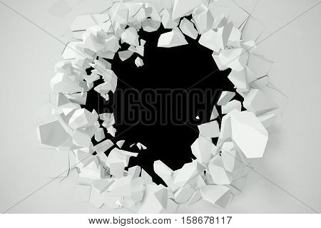 Cracked, destruction of a white wall, template for a content. 3d rendering.