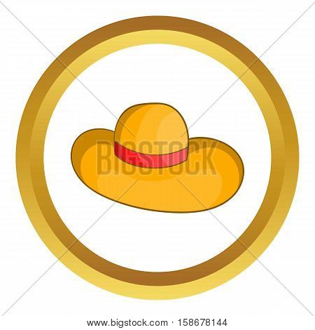 Womens beach hat vector icon in golden circle, cartoon style isolated on white background