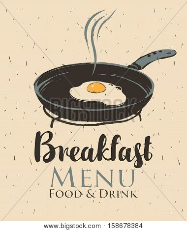 vector banner for a cafe with breakfast with a frying pan and fried eggs