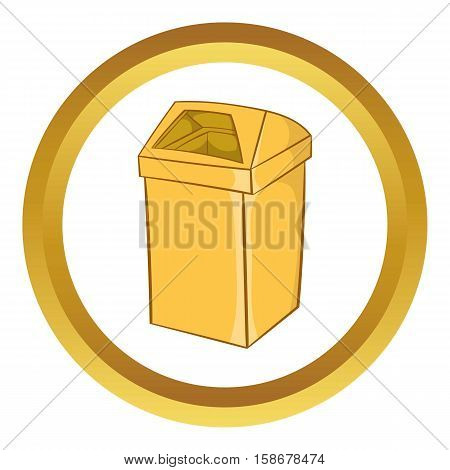 Yellow trash vector icon in golden circle, cartoon style isolated on white background