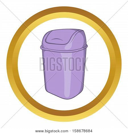 Toilet trash vector icon in golden circle, cartoon style isolated on white background