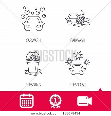 Achievement and video cam signs. Car wash icons. Automatic cleaning station linear signs. Wet cleaning and foam bucket flat line icons. Calendar icon. Vector