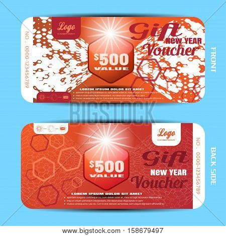 Vector gift new year voucher on the red background with hexagon pattern.