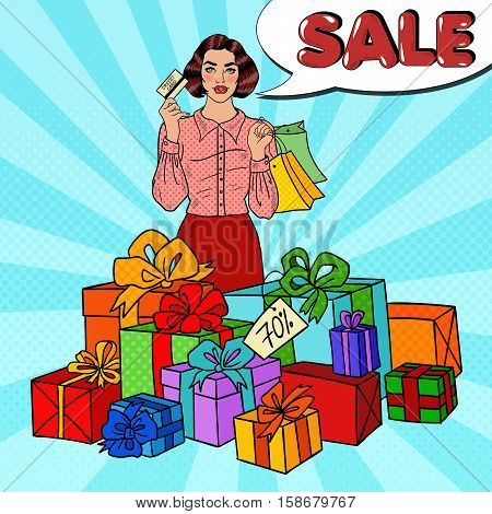 Pop Art Happy Woman with Shopping Bags, Huge Gift Boxes and Comic Speech Bubble Sale. Vector illustration