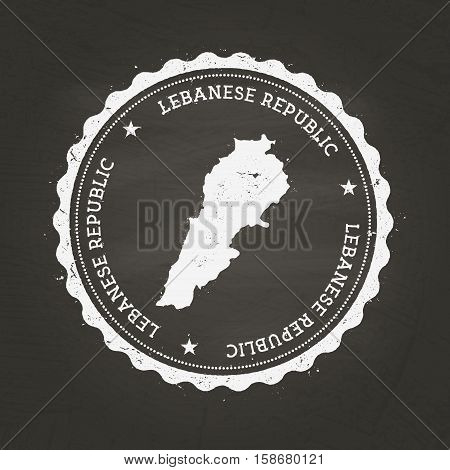 White Chalk Texture Rubber Stamp With Lebanese Republic Map On A School Blackboard. Grunge Rubber Se