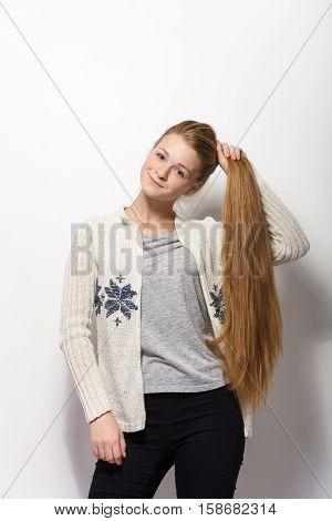 Human Pose Expressions And Emotions. Young Adorable Redhead Woman Showing Holding Her Gorgeous Extra