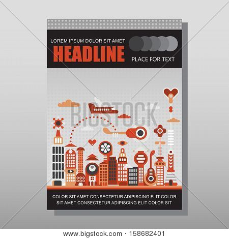 Modern cityscape vector illustration isolated on a light grey background. Multipurpose brochure flyer design layout template with place for text. Mock-up proportional size A4 front page.