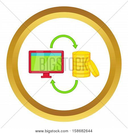 Online earnings vector icon in golden circle, cartoon style isolated on white background