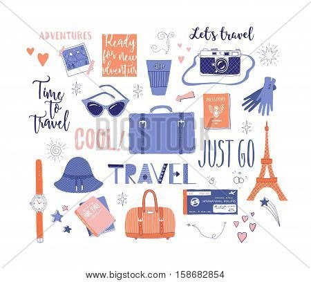 Vector set on the theme of travel vacation adventure. Retro 50's style. Handdrawn travel lettering. Suitcase bag camera clothes and other stuff. Doodles.